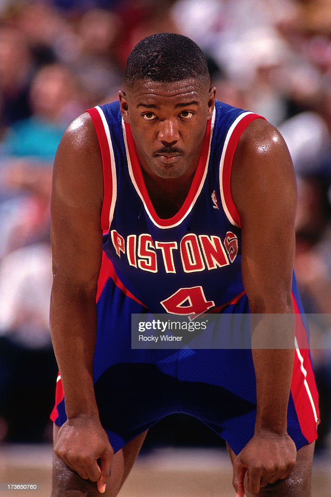 Joe Dumars of the Detroit Pistons looks on during a game against the Sacramento Kings played on March 14 1994 at Arco Arena in Sacramento California...