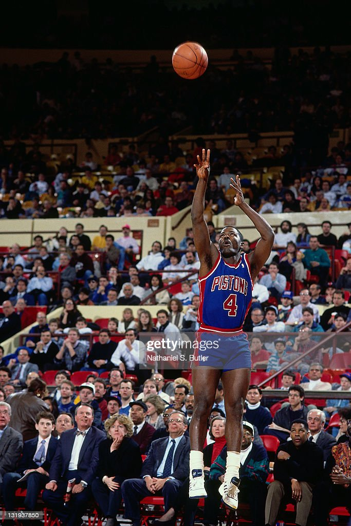 Joe Dumars of the Detroit Pistons shoots against the New York Knicks during a game played circa 1989 at Madison Square Garden in New York City NOTE...