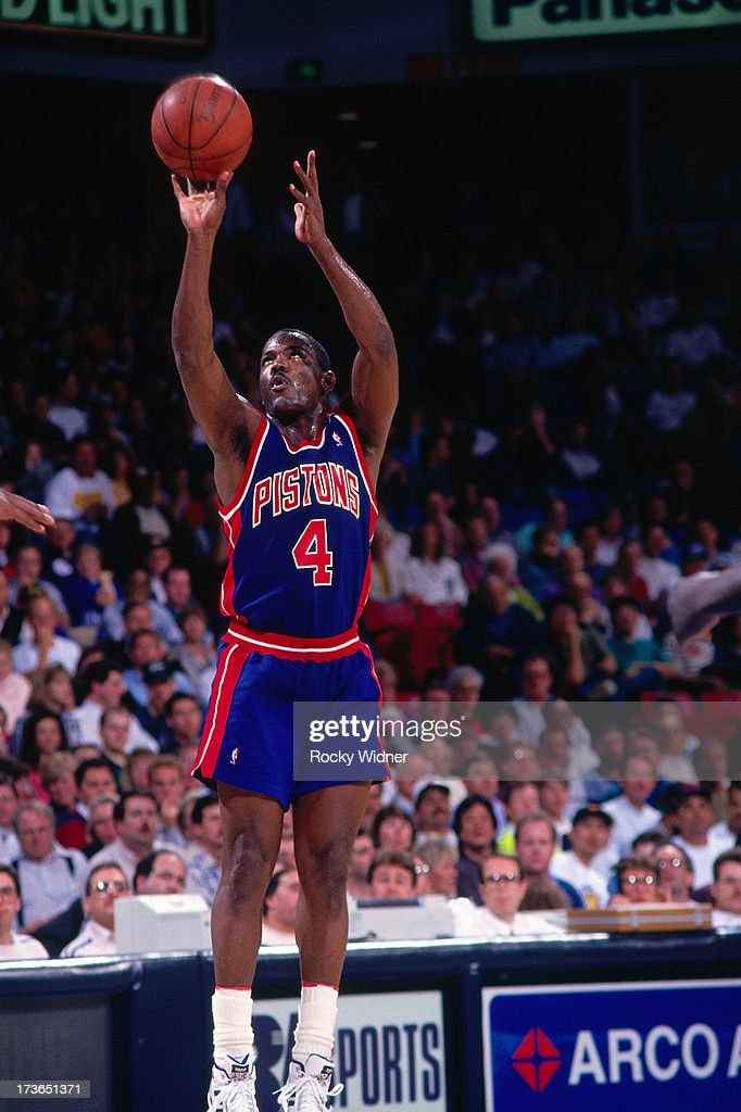 Joe Dumars of the Detroit Pistons shoots against the Sacramento Kings during a game played on March 16 1993 at Arco Arena in Sacramento California...