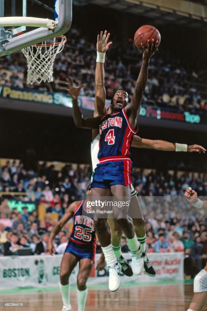 Joe Dumars of the Detroit Pistons shoots during a game circa 1986 at the Boston Garden in Boston Massachusetts NOTE TO USER User expressly...