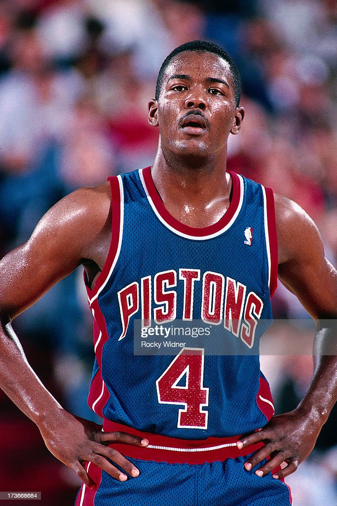 Joe Dumars of the Detroit Pistons waits to resume play against the Sacramento Kings during a game played on February 23 1988 at Arco Arena in...