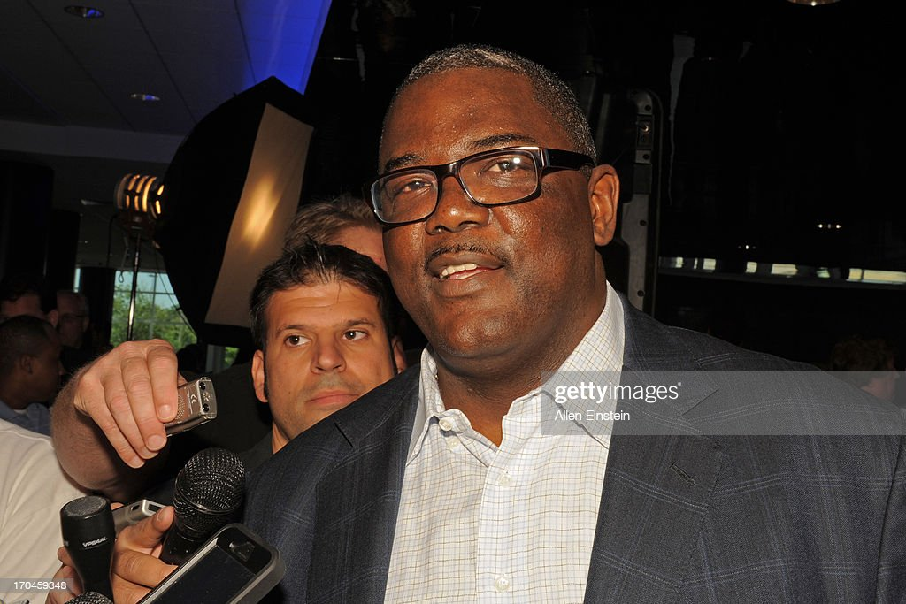 Joe Dumars President of Basketball Operations answers questions after introducing Mo Cheeks as the Detroit Piston new head coach on June 13 2013 at...