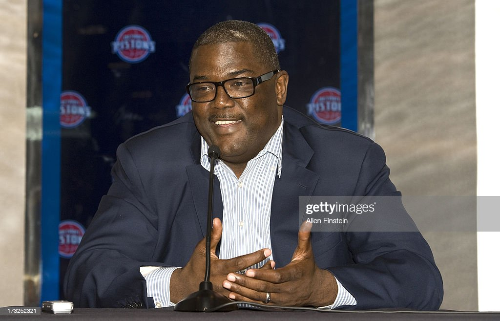 Joe Dumars President of Basketball Operations introduces new Detroit Piston player Josh Smith at a press conference on July 10 2013 at Palace of...