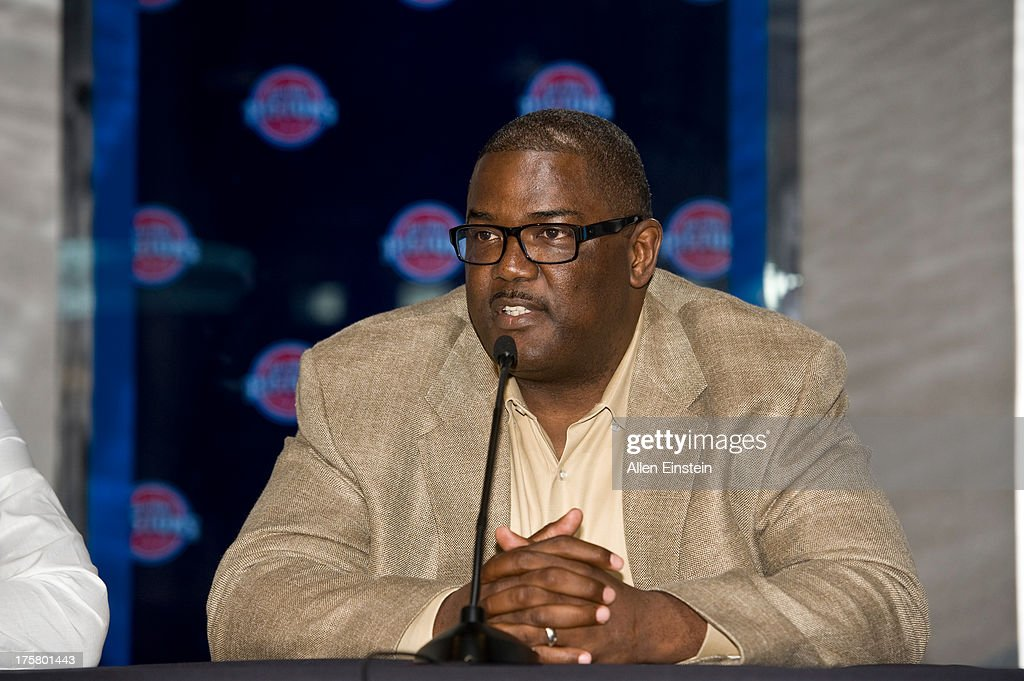 Joe Dumars President of Basketball Operations introduces new Detroit Piston Brandon Jennings at a press conference on August 6 2013 at Palace of...