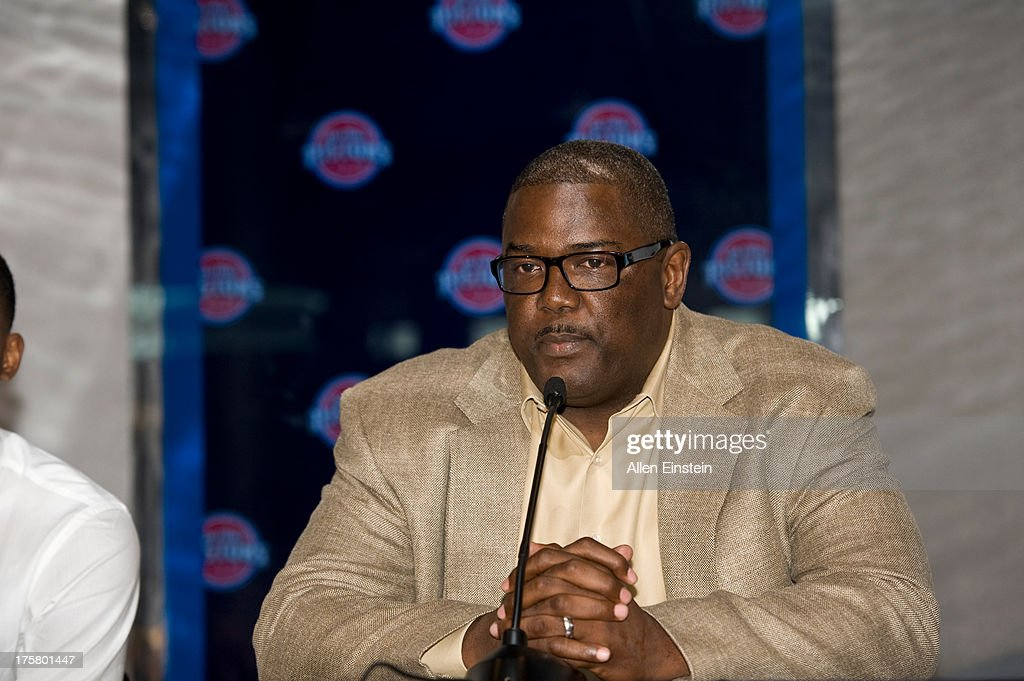 Joe Dumars, President of Basketball Operations, introduces new Detroit Piston, Brandon Jennings at a press conference on August 6, 2013 at Palace of Auburn Hills in Auburn Hills, Michigan.