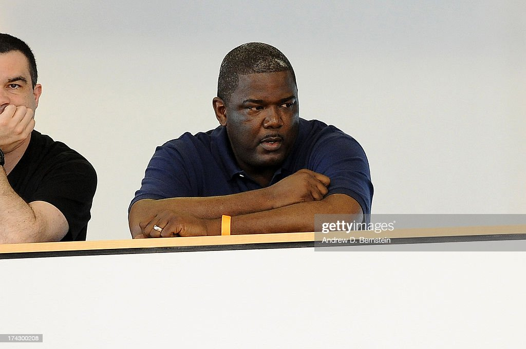 Joe Dumars watches the USA Basketball Men's National Team practice at Training Camp at the Mendenhall Center on July 23 in Las Vegas Nevada NOTE TO...