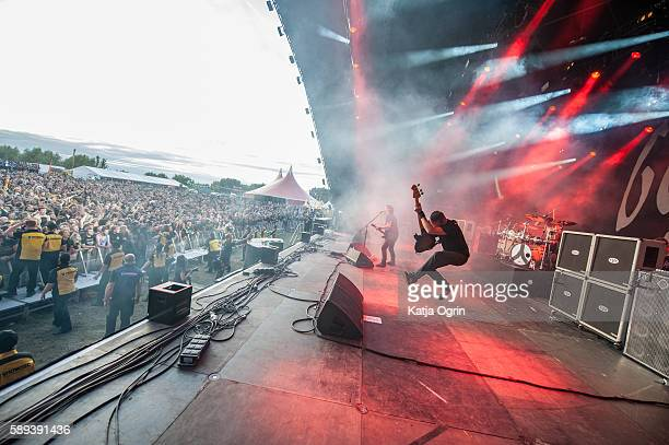 Joe Duplantier Mario Duplantier Christian Andreu and JeanMichel Labadie of Gojira performing live on stage at Bloodstock Festival at Catton Park on...