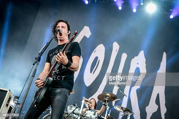 Joe Duplantier of Gojira performs on Day 2 of the Heavy Montreal Festival at Parc JeanDrapeau on August 8 2015 in Montreal Canada