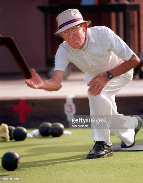 Joe Duran from Santa Barbara competes in the lawn bowling competition at Wilson Park in Oxnard This event is part of the Senior Games Duran is the...
