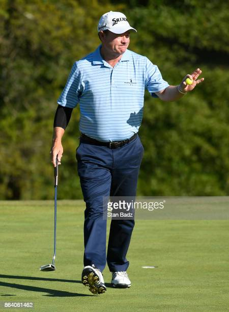 Joe Durant acknowledges the gallery on the 16th hole during the first round of the PGA TOUR Champions Dominion Energy Charity Classic at The Country...