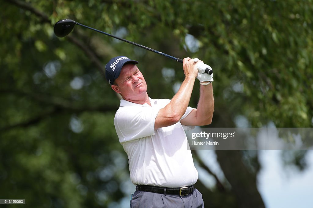 <a gi-track='captionPersonalityLinkClicked' href=/galleries/search?phrase=Joe+Durant&family=editorial&specificpeople=241529 ng-click='$event.stopPropagation()'>Joe Durant</a> hits his tee shot on the second hole during the final round of the Champions Tour American Family Insurance Championship at University Ridge Golf Course on June 26, 2016 in Madison, Wisconsin.