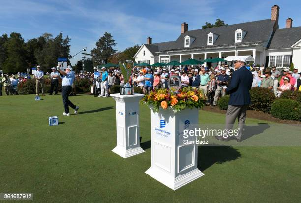 Joe Durant plays a tee shot on the first hole during the second round of the PGA TOUR Champions Dominion Energy Charity Classic at The Country Club...