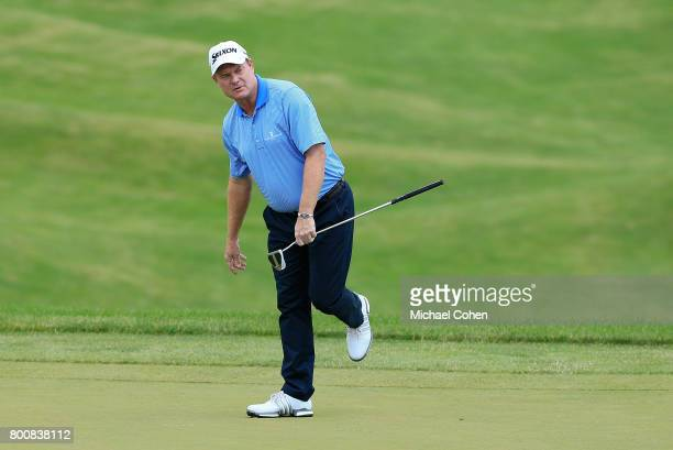 Joe Durant reacts to his missed birdie putt on the sixth green during the third and final round of the American Family Insurance Championship held at...