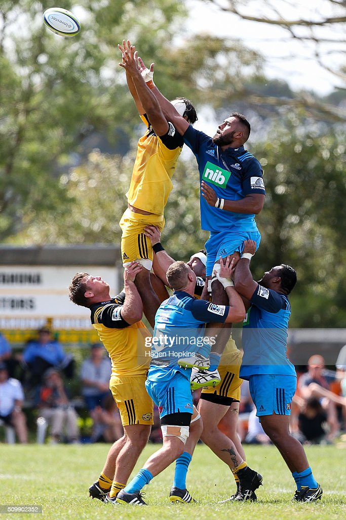 Joe Edwards of the Blues and Michael Fatialofa of the Hurricanes compete for a lineout during the Super Rugby pre-season match between the Blues and the Hurricanes at Eketahuna Rugby Club on February 13, 2016 in Eketahuna, New Zealand.