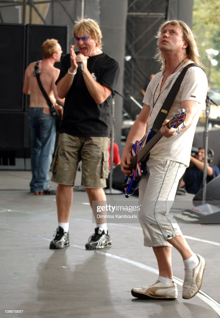 Joe Elliott and Rick Savage of Def Leppard during LIVE 8 - Philadelphia - Rehearsals at Philadelphia Museum of Art in Philadelphia, Pennsylvania, United States.