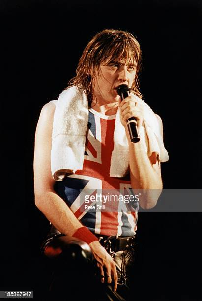 Joe Elliott of Def Leppard performs on stage at Hammersmith Odeon on December 5th 1983 in London England