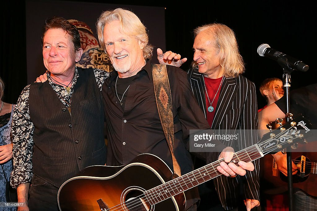 Joe Ely, Kris Kristofferson and Jimmie Dale Gilmore perform during the Nobelity Projects Artists & Filmmakers Dinner honoring Kris Kristofferson with the Feed The Peace award at the Four Seasons Hotel on February 10, 2013 in Austin, Texas.