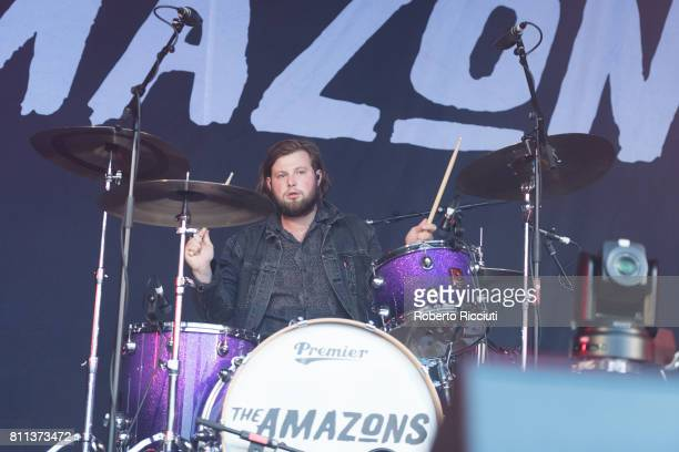 Joe Emmett of English rock band The Amazons performs on stage during TRNSMT Festival Day 3 at Glasgow Green on July 9 2017 in Glasgow Scotland