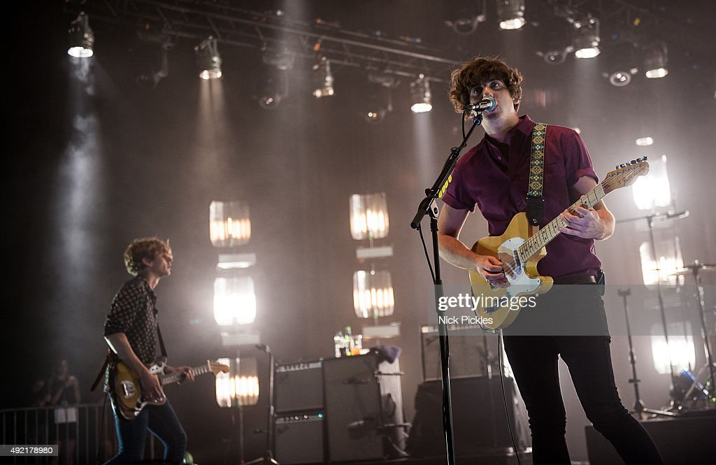 Joe Falconer and Kieran Shudall of Circa Waves perform at the O2 Academy Brixton on October 10, 2015 in London, England.