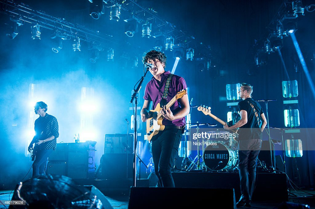 Joe Falconer, Kieran Shudall and Sam Rourke of Circa Waves perform at the O2 Academy Brixton on October 10, 2015 in London, England.