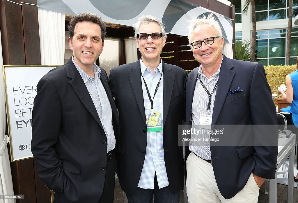 Joe Ferullo, Peter Casey and Will Shriner are seen at the CBS Television Distribution cabana during NATPE at Fontainebleau Miami Beach on January 29, 2013 in Miami Beach, Florida.