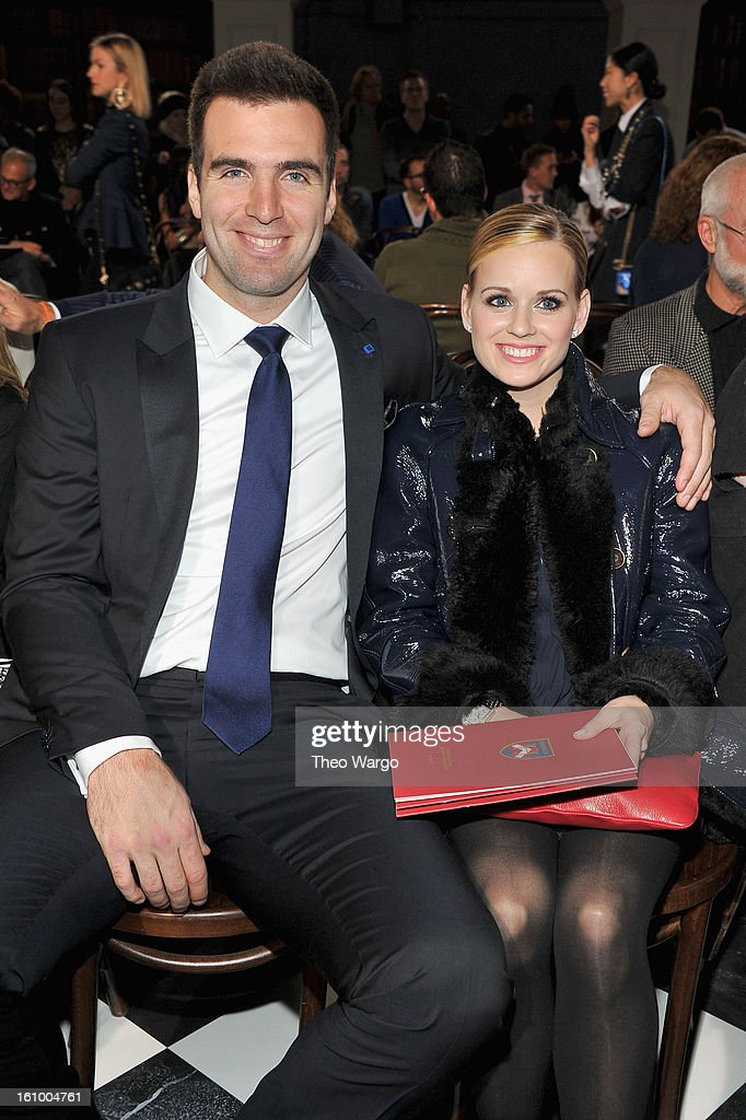 <a gi-track='captionPersonalityLinkClicked' href=/galleries/search?phrase=Joe+Flacco&family=editorial&specificpeople=4645672 ng-click='$event.stopPropagation()'>Joe Flacco</a> and Dana Flacco attend the Tommy Hilfiger Fall 2013 Men's Collection fashion show during Mercedes-Benz Fashion Week at Park Avenue Armory on February 8, 2013 in New York City.