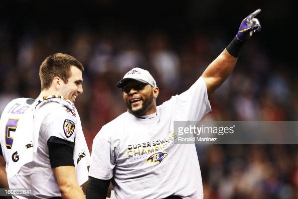 Joe Flacco and Ray Lewis of the Baltimore Ravens celebrate after the Ravens won 3431 against the San Francisco 49ers during Super Bowl XLVII at the...