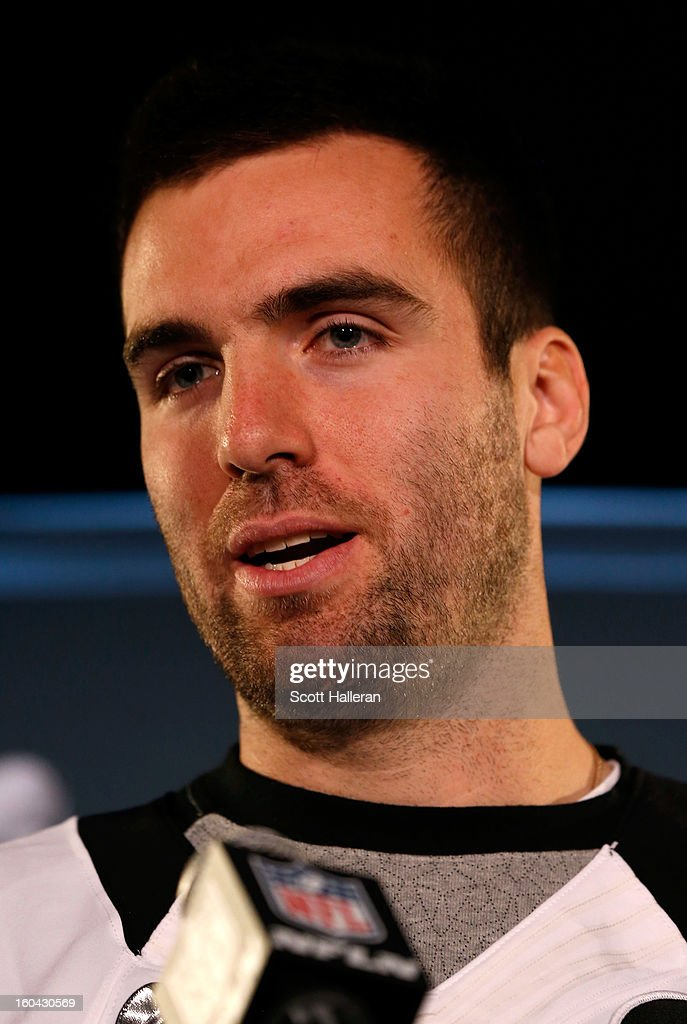 <a gi-track='captionPersonalityLinkClicked' href=/galleries/search?phrase=Joe+Flacco&family=editorial&specificpeople=4645672 ng-click='$event.stopPropagation()'>Joe Flacco</a> #5 of the Baltimore Ravens addresses the media during Super Bowl XLVII Media Availability at the Hilton New Orleans Riverside on January 31, 2013 in New Orleans, Louisiana. The Ravens will take on the San Francisco 49ers on February 3, 2013 at the Mercedes-Benz Superdome.