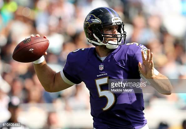 Joe Flacco of the Baltimore Ravens attempts a pass against the Jacksonville Jaguars at EverBank Field on September 25 2016 in Jacksonville Florida