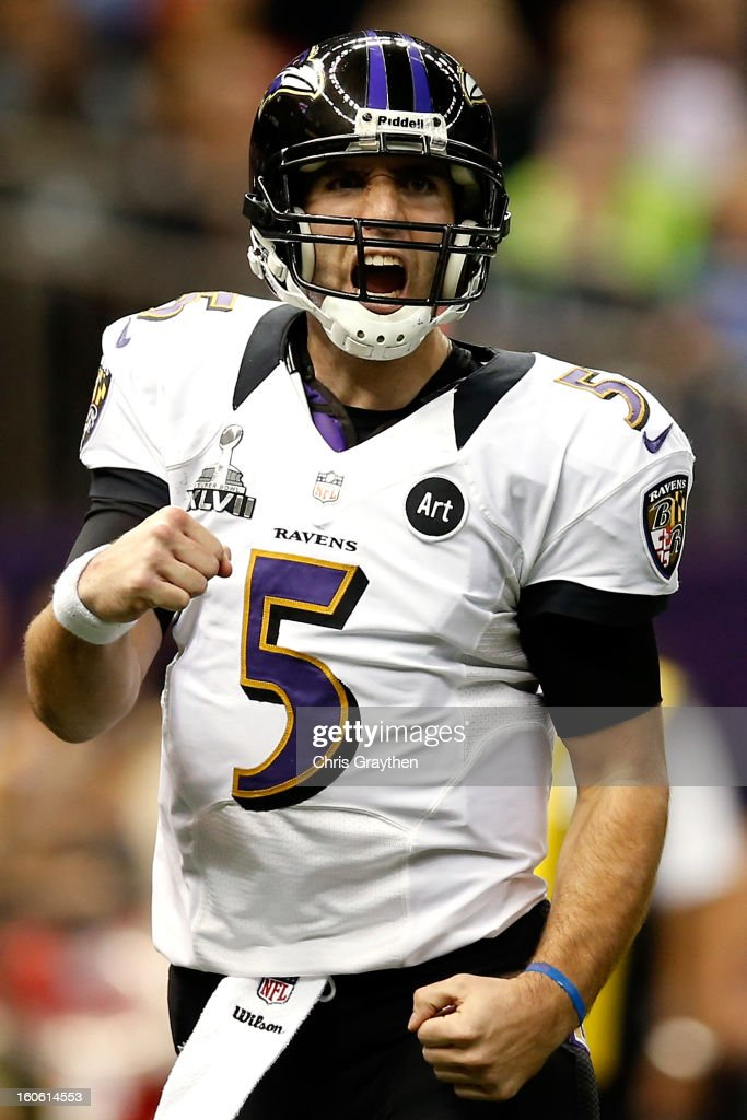 Joe Flacco of the Baltimore Ravens celebrates a touchdown in the second quarter against the San Francisco 49ers during Super Bowl XLVII at the...