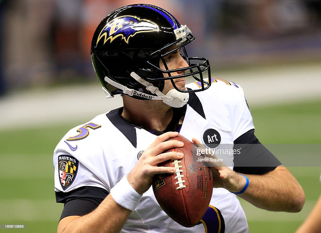 Joe Flacco #5 of the Baltimore Ravens passes the ball during warm-ups prior to Super Bowl XLVII against the San Francisco 49ers at the Mercedes-Benz Superdome on February 3, 2013 in New Orleans, Louisiana.