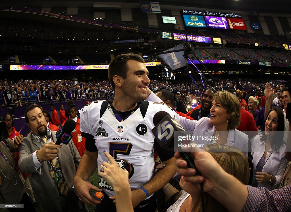 Joe Flacco #5 of the Baltimore Ravens reacts after defeating the San Francisco 49ers during Super Bowl XLVII at the Mercedes-Benz Superdome on February 3, 2013 in New Orleans, Louisiana. The Ravens defeated the 49ers 34-31.