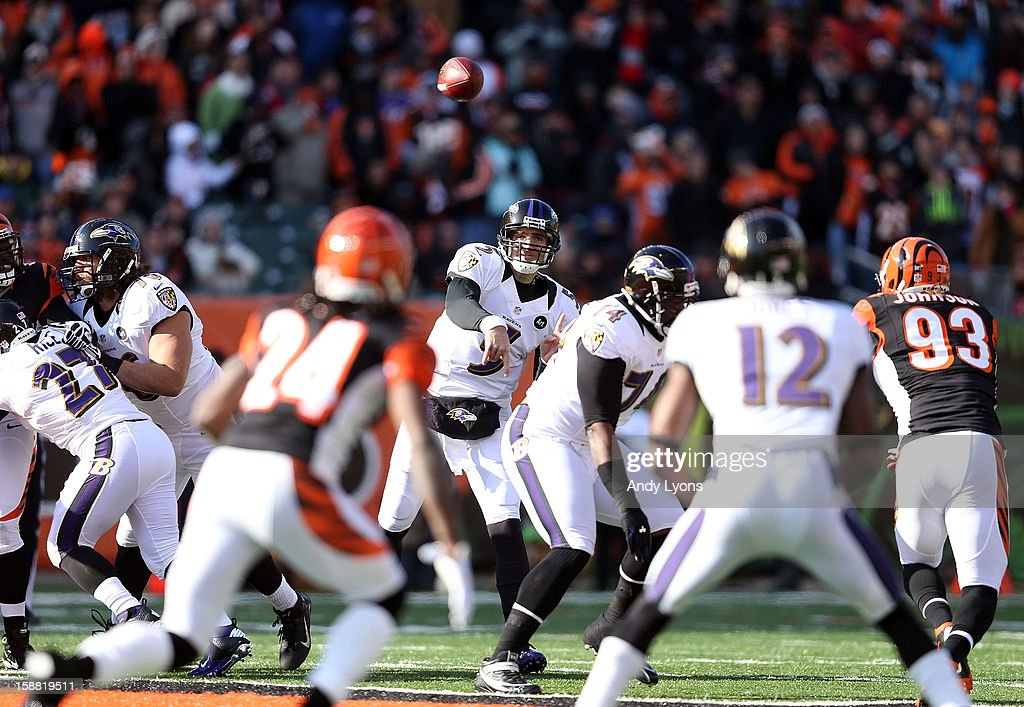 Joe Flacco #5 of the Baltimore Ravens throws a pass during the NFL game against the Cincinnati Bengals at Paul Brown Stadium on December 30, 2012 in Cincinnati, Ohio.