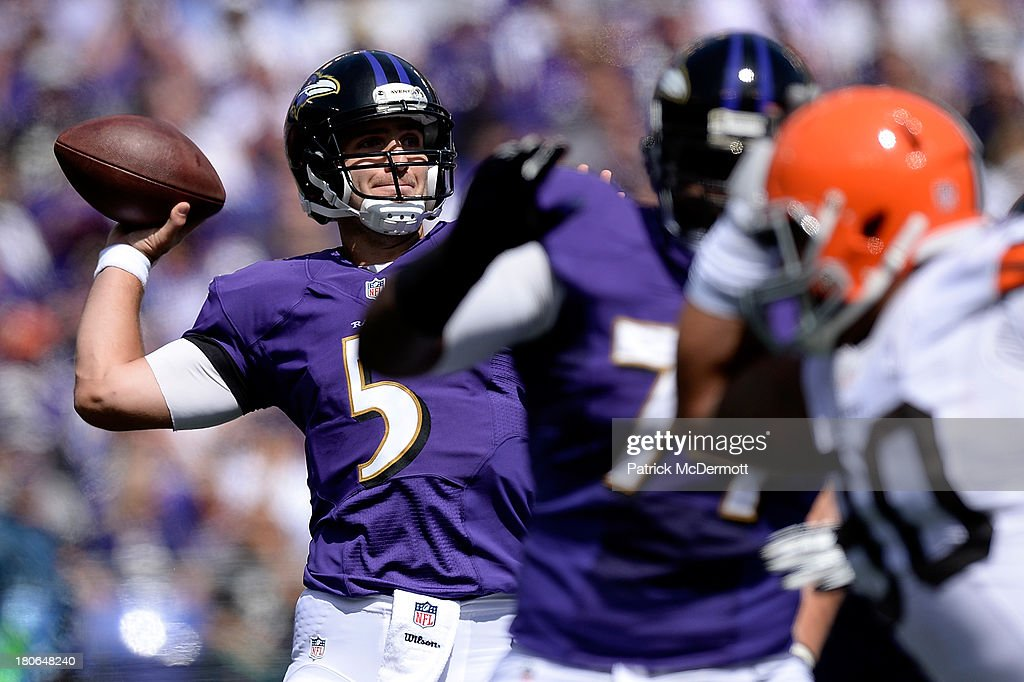 Joe Flacco #5 of the Baltimore Ravens throws a pass in the first half during a game against the Cleveland Browns at M&T Bank Stadium on September 15, 2013 in Baltimore, Maryland.