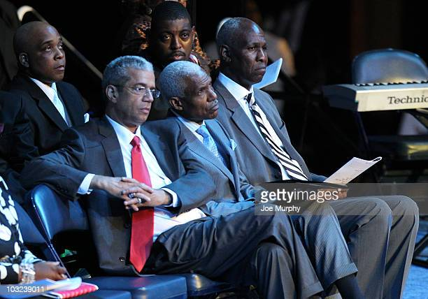 Joe Ford Interim Shelby County Mayor AC Wharton Mayor of Memphis and Willie Herenton former Mayor of Memphis sit during a memorial service honoring...
