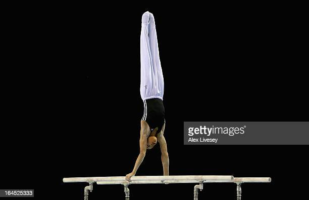 Joe Fraser of City of Bormingham competes in the Parallel Bars in the Men's Masters event at the Men's and Women's British Gymnastics Championships...