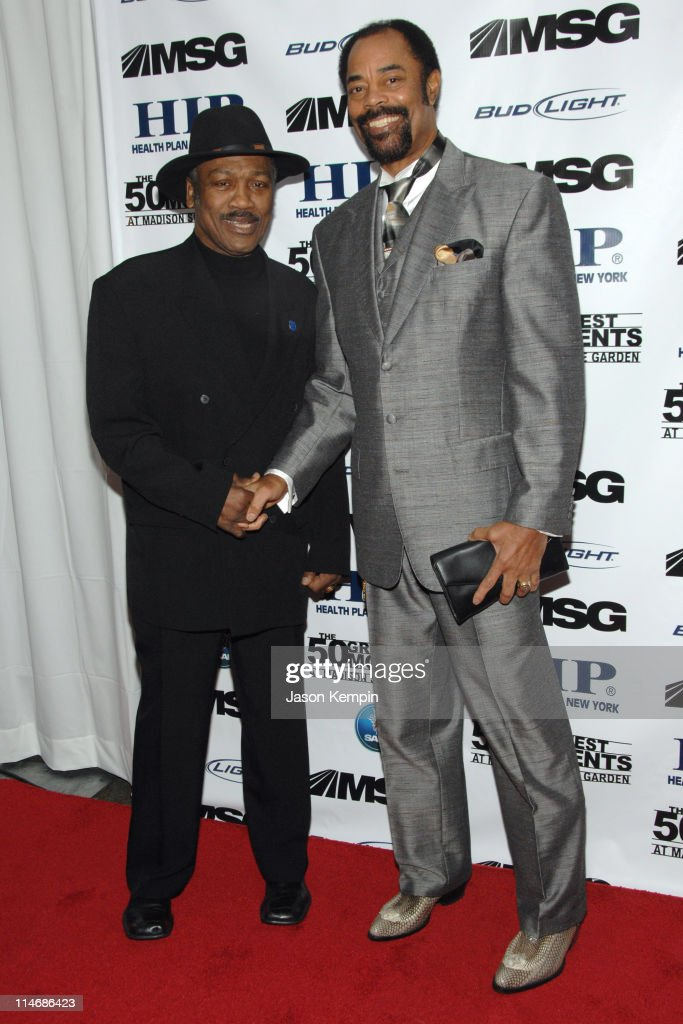 Joe Frazier and Walt Frazier during 'The 50 Greatest Moments At Madison Square Garden' New York Screening January 18 2007 at The Club Bar Grill in...