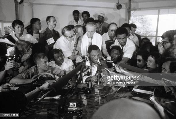 Joe Frazier at press conference The Thrilla In Manila at the Philippines Philippine Coliseum Oct 1 1975