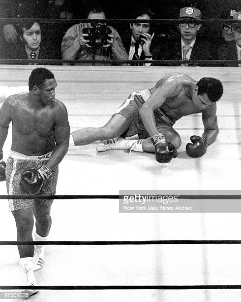 Joe Frazier confidently heads for neutral corner after knocking out Muhammad Ali in the 15th round at Madison Square Garden The decesion was unanimous