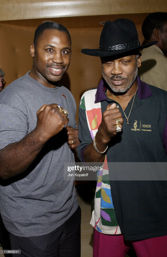 Joe Frazier & son Marvis Frazier during 2002 ESPY Awards - Kick-Off Party Featuring The ESPY Collection at Sky Bar At The Mondrian Hotel in West Hollywood, California, United States.