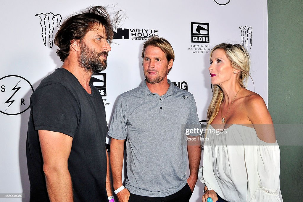 Joe G Damien Hobgood and Charlotte Hobgood attend 'Strange Rumblings In ShangriLa' world premiere at Pacific Air Center on July 31 2014 in Long Beach...