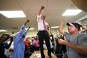 Joe Ganim celebrates at his campaign headquarters after claiming victory over incumbent mayor Bill Finch in the Democratic mayoral primary in...
