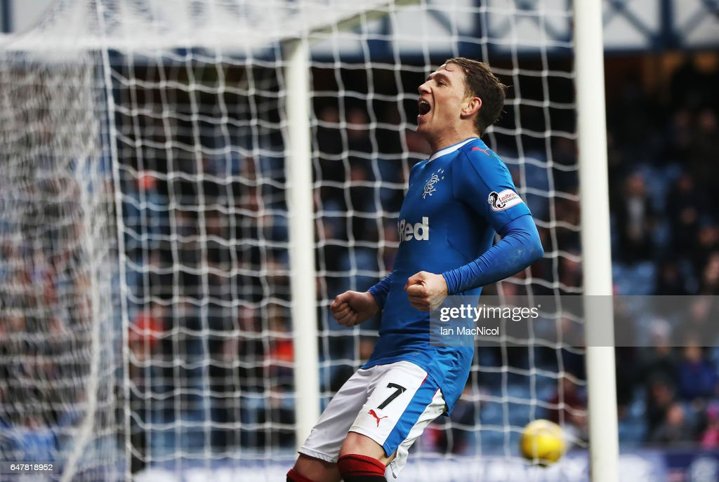 Joe Garner of Rangers celebrates scoring his secong goal during the Scottish Cup Quarter final match between Rangers and Hamilton Academical at Ibrox Stadium on March 4, 2017 in Glasgow, Scotland.