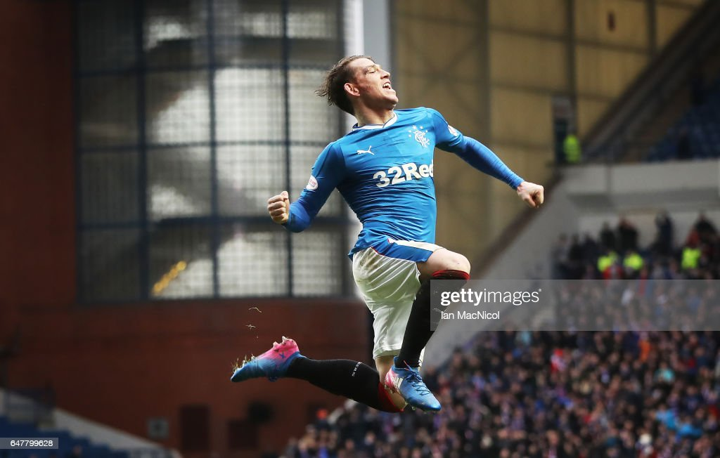 Joe Garner of Rangers celebrates scoring his team's sixth goal during the Scottish Cup Quarter final match between Rangers and Hamilton Academical at Ibrox Stadium on March 4, 2017 in Glasgow, Scotland.