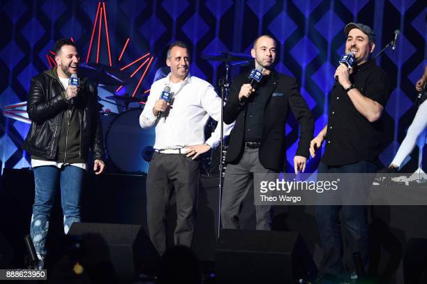 Joe Gatto James 'Murr' Murray and Brian 'Q' Quinn of Impractical Jokers speak onstage at the Z100's Jingle Ball 2017 press room on December 8 2017 in...