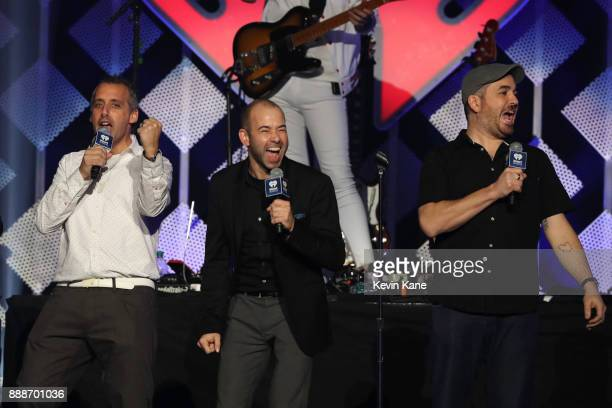 Joe Gatto James 'Murr' Murray and Brian 'Q' Quinn of Impractical Jokers speak onstage during Z100's iHeartRadio Jingle Ball 2017 at Madison Square...