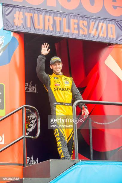Joe Gibbs Racing STANLEY Toyota driver Daniel Suarez waves to the fans during the Monster Energy Cup Series Tale of the Turtles 400 driver...