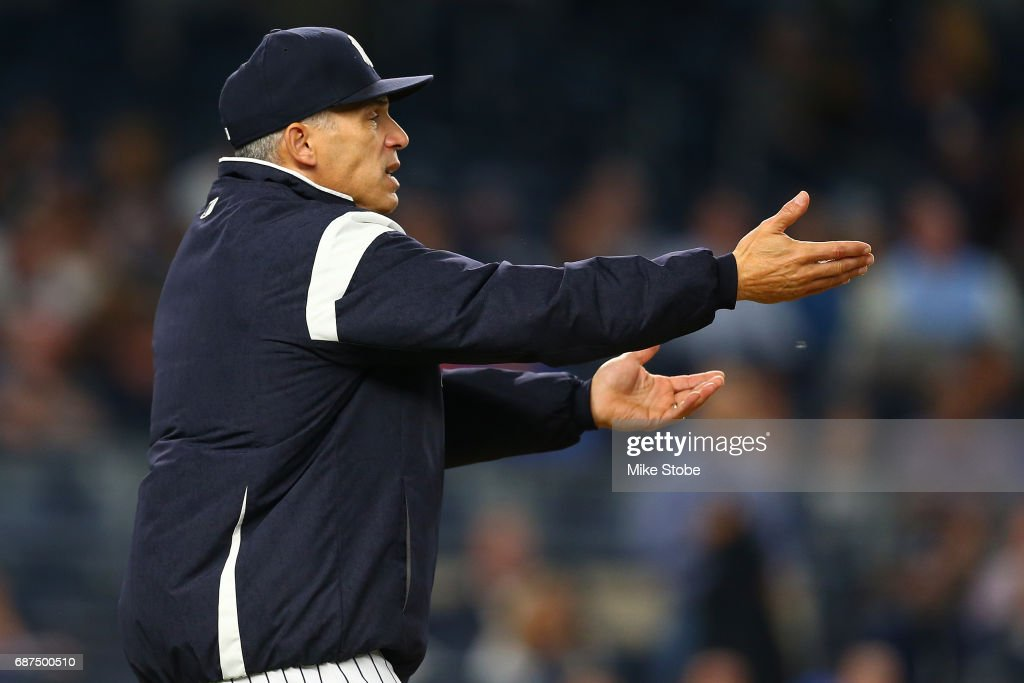 Joe Girardi #28 of the New York Yankees argues the final out of the game against the Kansas City Royals at Yankee Stadium on May 23, 2017 in the Bronx borough of New York City.