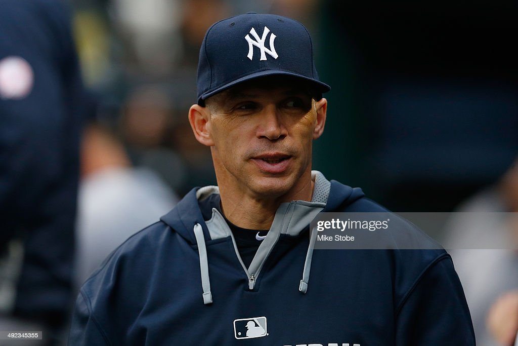 <a gi-track='captionPersonalityLinkClicked' href=/galleries/search?phrase=Joe+Girardi&family=editorial&specificpeople=208659 ng-click='$event.stopPropagation()'>Joe Girardi</a> #28 of the New York Yankees looks on from the dugout prior to the game against the New York Mets on May 15, 2014 at Citi Field in the Flushing neighborhood of the Queens borough of New York City. Yankees defeated the Mets 1-0.