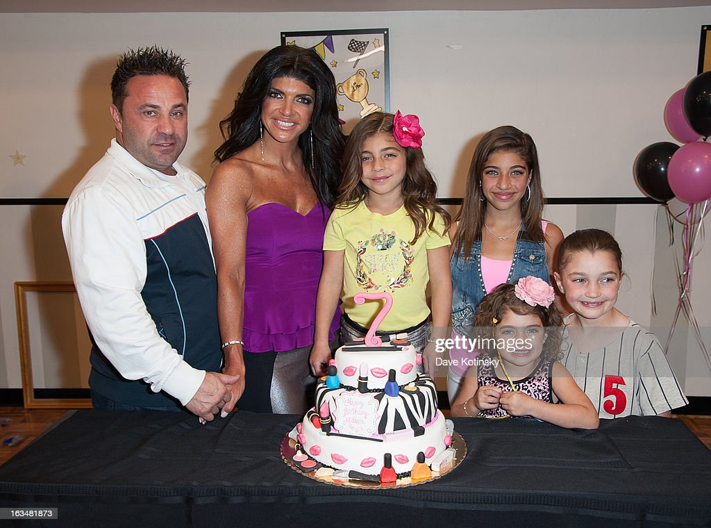 <a gi-track='captionPersonalityLinkClicked' href=/galleries/search?phrase=Joe+Giudice&family=editorial&specificpeople=5978109 ng-click='$event.stopPropagation()'>Joe Giudice</a>, <a gi-track='captionPersonalityLinkClicked' href=/galleries/search?phrase=Teresa+Giudice&family=editorial&specificpeople=5912953 ng-click='$event.stopPropagation()'>Teresa Giudice</a>, Audriana Giudice, Gia Giudice, Gabriella Giudice and Milania Giudice attend Milania Giudice's 7th Birthday Celebration at Just Kidding on March 10, 2013 in Wayne, New Jersey.